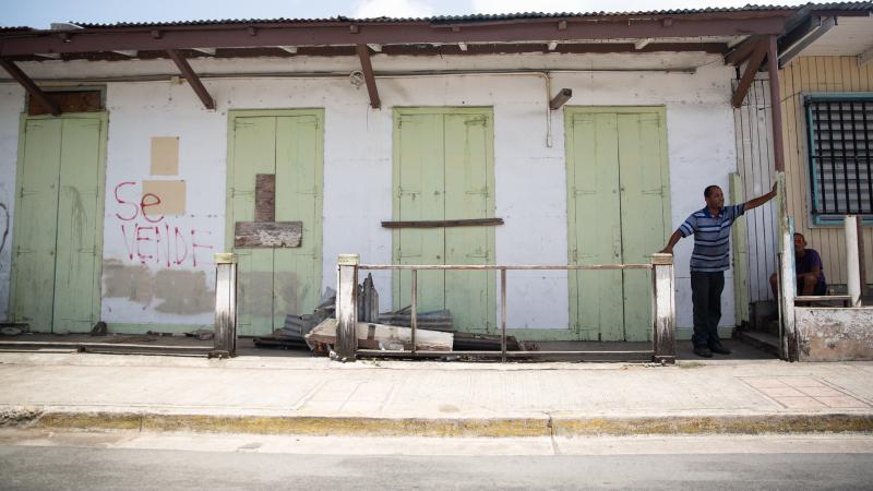A building for sale in the town of Isabel Segunda in Vieques.