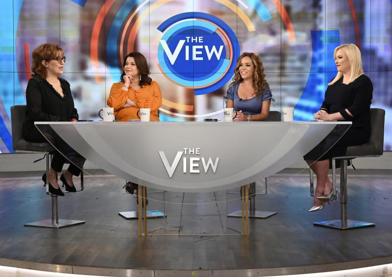 Ana Navarro (center left) and Sunny Hostin (center right) appear on The View on Aug. 2, 2019. The two were pulled live from the TV show on Friday, just before Vice President Harris was scheduled to join them onstage for an interview.