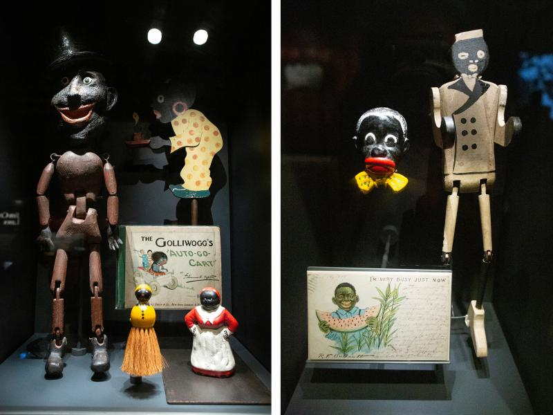 Wide-mouthed, blackface figures of Uncle Tom and postcards of eating watermelon perpetuated negative African-American stereotypes. The minstrel caricatures started showing up on toys, games, books, even postcards and everyday household items.