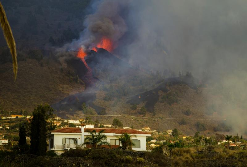 Lava flows from an eruption of a volcano at the island of La Palma in the Canaries, Spain, on Sunday.