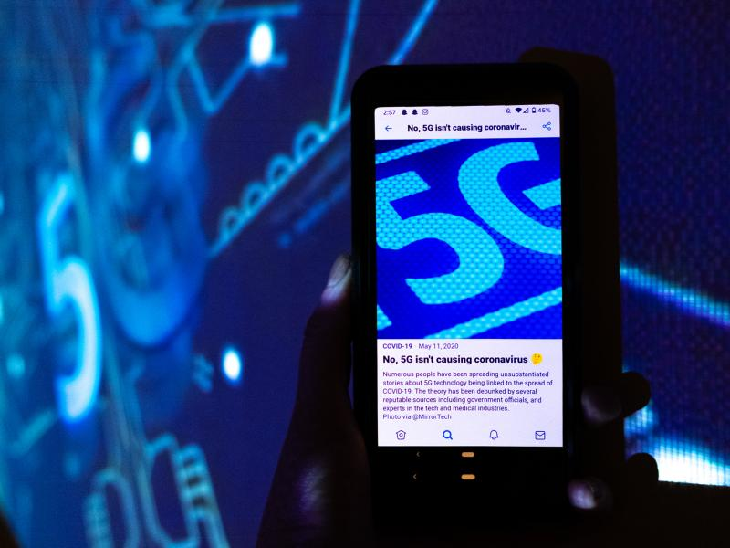 """Open up any social media app on your phone and you'll see it: links to COVID-19 information from trustworthy sources. Here, a Twitter screen reads, """"No, 5G isn't causing coronavirus."""""""