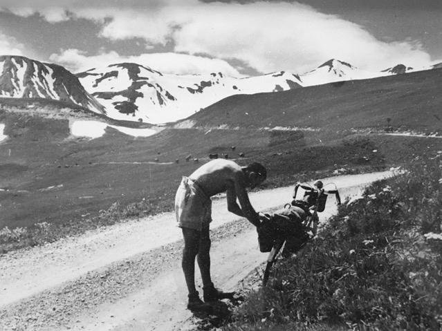 Jacques Enoch with his bike in the Alps in 1941. Danièle Enoch-Maillard's father, who was Jewish, survived World War II in an Alpine village with the help of a deputy mayor and a postal worker who sent smoke signals every time the Nazis headed up the mou