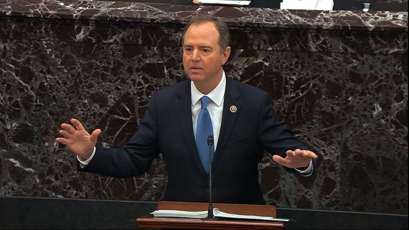 In this image from video, House impeachment manager Rep. Adam Schiff, D-Calif., speaks during the impeachment trial against President Trump in the Senate.