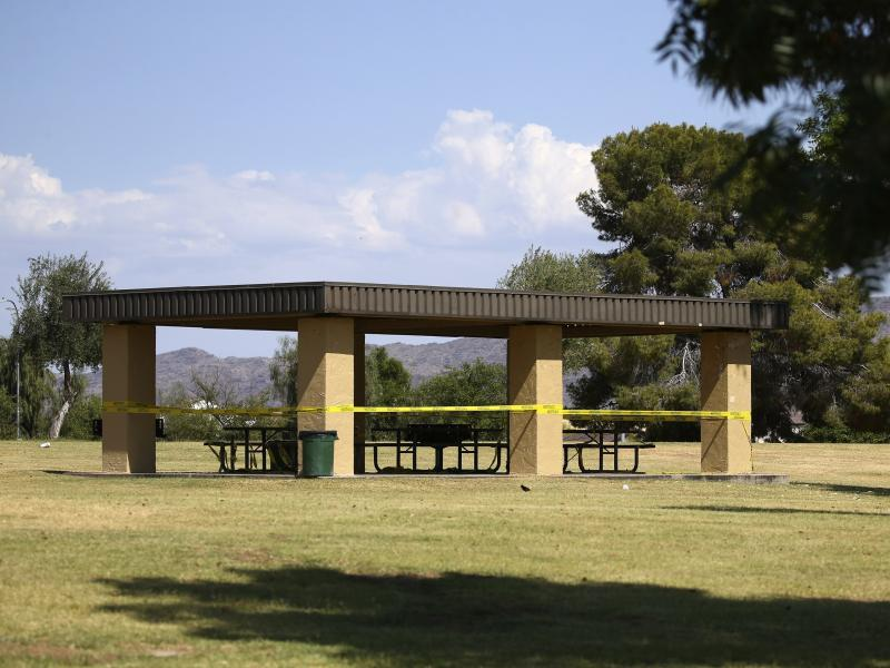 Picnic areas at Cesar Chavez Park in Laveen, Ariz. were closed off to facilitate social distancing. The state's stay-at-home order expires May 15.