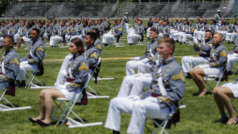 Stands remain empty as family members of United States Military Academy graduating cadets are restricted from attending commencement ceremonies on June 13 in West Point, N.Y