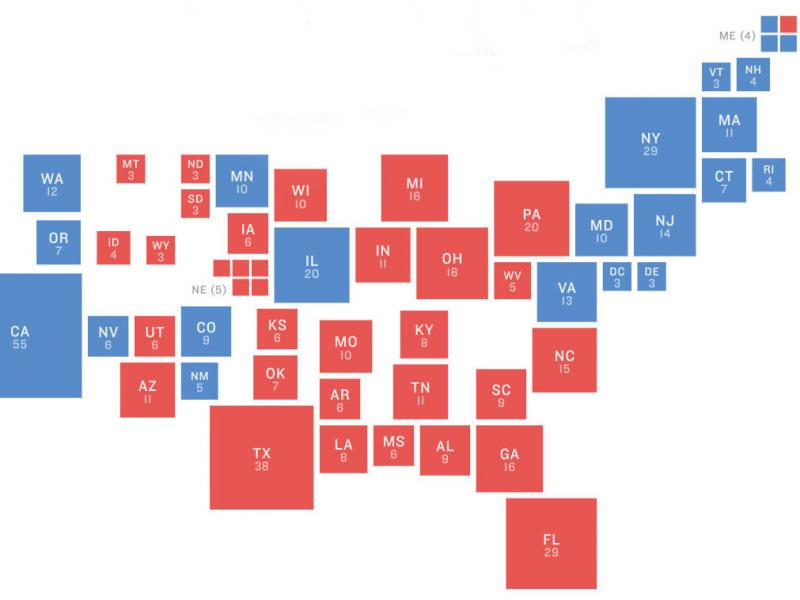 The electoral map In 2016. President Trump upended it, and the 2018 midterms show where it may be reverting to prior trends heading into 2020.