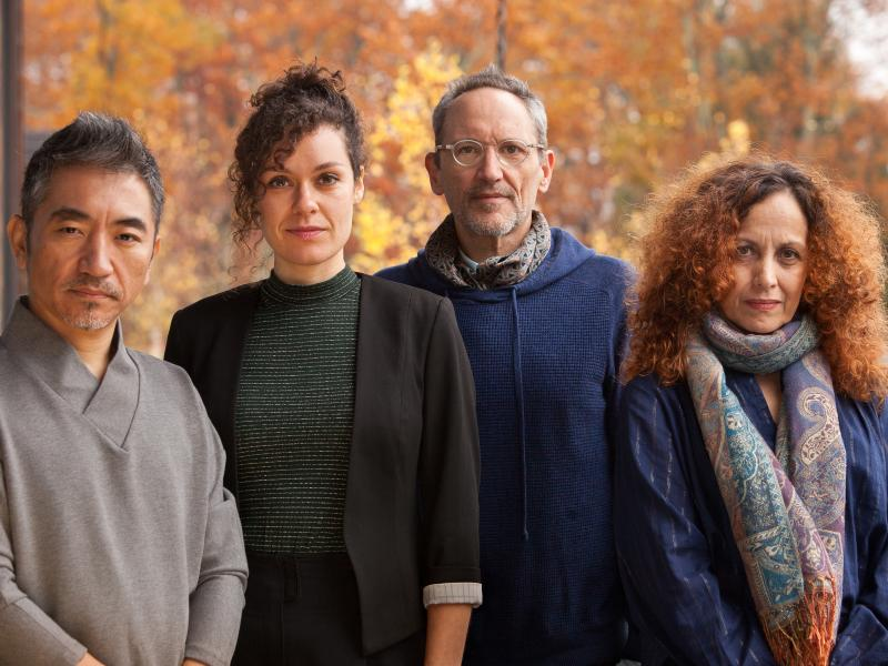 Composer Osvaldo Golijov (second from right) and three of his colleagues on Falling Out of Time: vocalists Wu Tong, Nora Fischer and Biella da Costa.