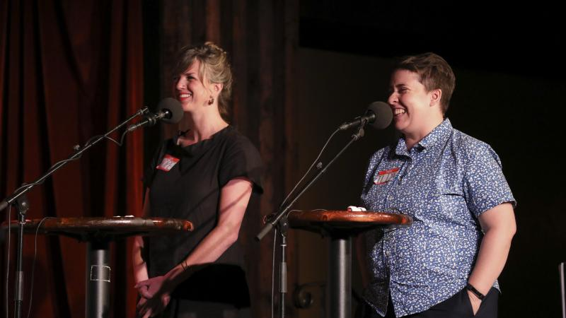 Contestants Hope Dickens and Iliya Smithka appear on Ask Me Another at the Bell House in Brooklyn, New York.
