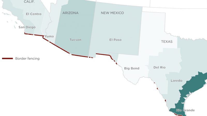 Map of southwestern border