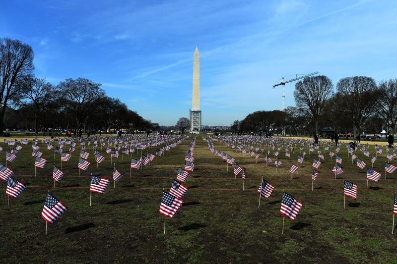 """Some 1,892 American flags are installed on the National Mall in Washington, DC in 2014. The Iraq and Afghanistan veterans installed the flags to represent the 1,892 veterans and service members who committed suicide this year as part of the """"We've Got You"""