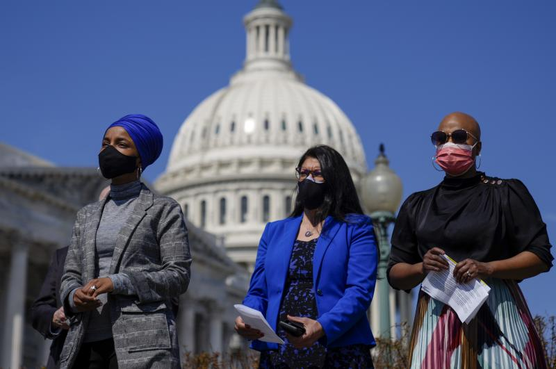 Reps. Ilhan Omar (from left), Rashida Tlaib and Ayanna Pressley, seen here at a news conference last month outside the U.S. Capitol, are among those calling on the Biden administration to lift the cap on refugees.
