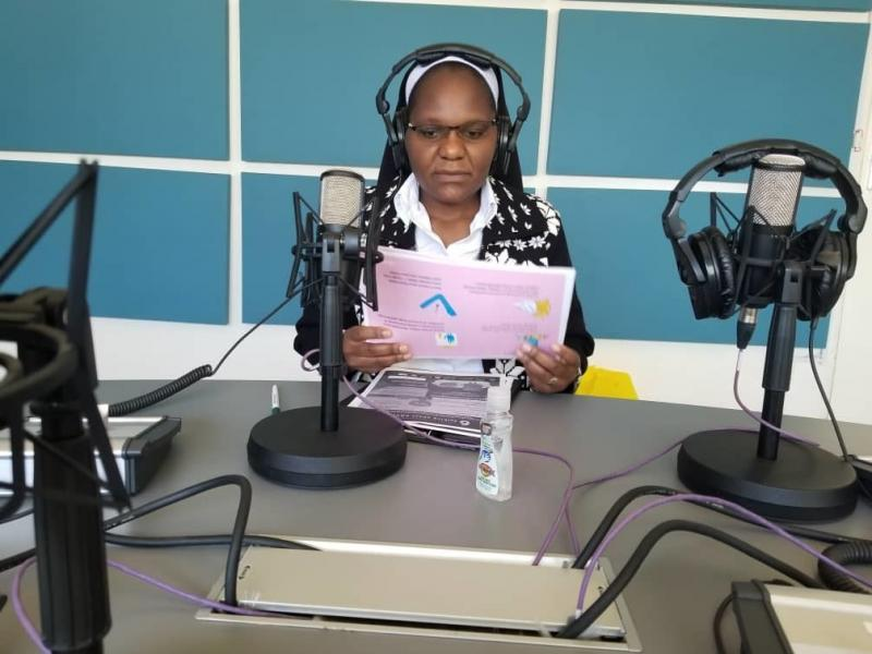 """Sister Astridah Banda produces a live radio show called """"COVID-19 Awareness Program"""" in Zambia to share crucial information about the coronavirus in local languages."""