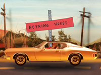 """A '71 Buick rolls down a rural blacktop in a scene from a new video for Gillian Welch's """"Dry Town (Demo)."""""""