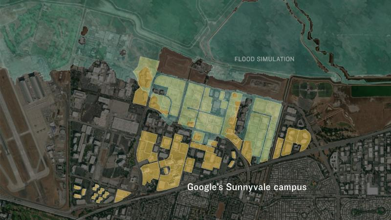 Map showing simulated floodwaters near Google's Sunnyvale campus