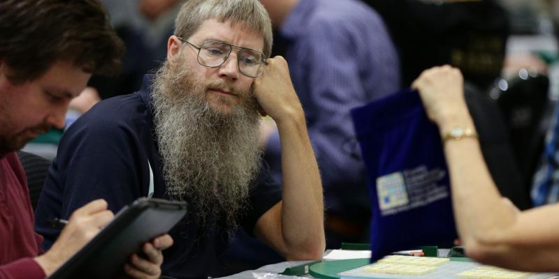 Nigel Richards, seen here at a Scrabble tournament last winter, won the French-language Scrabble championships Monday. He began studying the French Scrabble dictionary in May.
