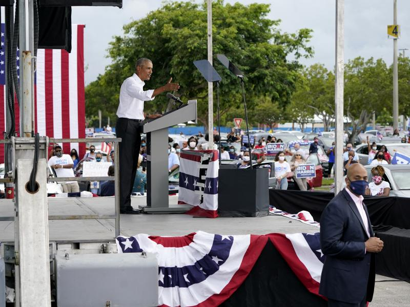 """Former President Barack Obama campaigns for Democratic nominee Joe Biden in Miami. Obama encouraged people to vote, saying the next 10 days will """"matter for decades to come."""""""