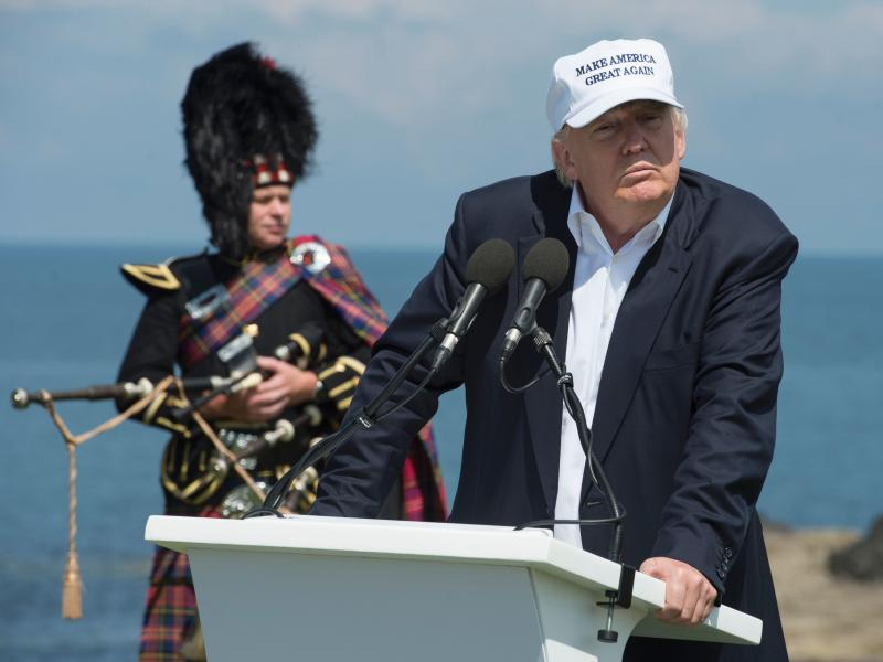"""Donald Trump delivers a speech as he officially opens his Trump Turnberry hotel and golf resort in Scotland on Friday. Donald Trump hailed Britain's vote to leave the EU as """"fantastic"""" shortly after arriving in Scotland."""
