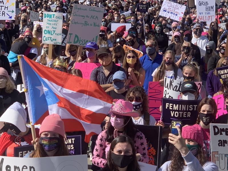Protesters rally in Washington, D.C., during the latest Women's March, demonstrations that began just after President Trump's inauguration.