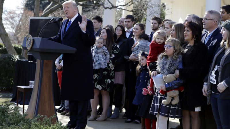 President Donald Trump speaks to the March for Life participants  via satellite from the Rose Garden of the White House Friday.