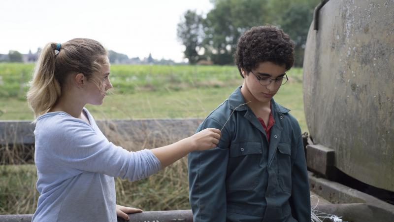 Louise (Victoria Bluck) comforts Ahmed (Idir Ben Addi) in Young Ahmed.