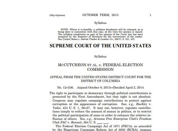 Latest Supreme Court Decision on Campaign Finance Part of a