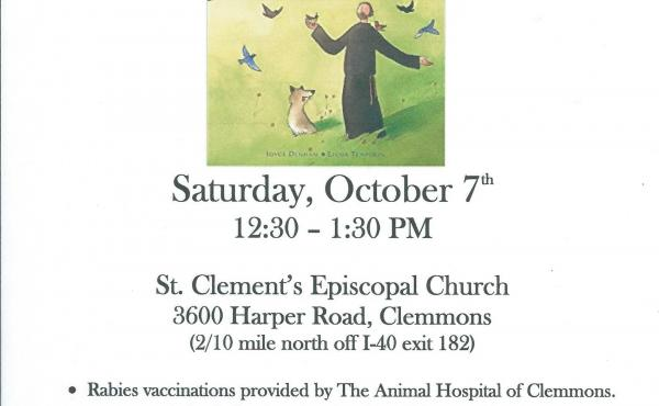 St. Clement's Episcopal Church in Clemmons invites all to join us for a Blessing of the Animals on Saturday, October 7th from 12:30 – 1:30 PM.
