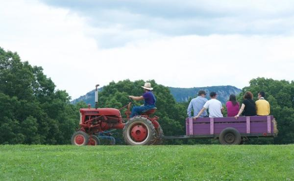 A hay ride at Plum Granny Farm from last year's Farm Tour
