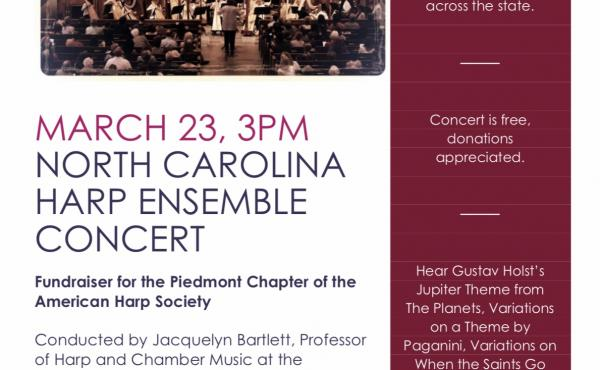 March 23, 3 PM  North Carolina Harp Ensemble Concert