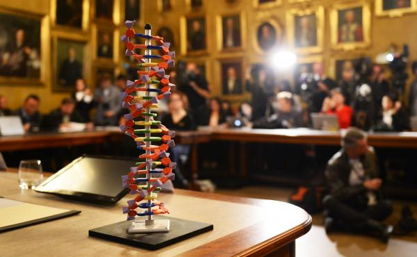 The model of a DNA stands on a desk during a press conference to announce the winners of the Nobel Prize in Chemistry 2015 on Wednesday at the Royal Swedish Academy of Sciences in Stockholm. Sweden's Tomas Lindahl, Paul Modrich of the US and Turkish-Ameri