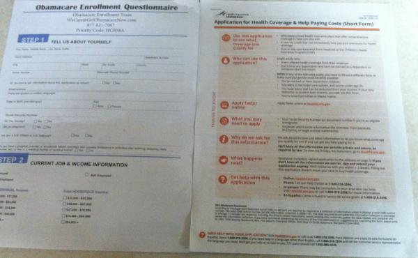 "An ""Obamacare Enrollment Team"" application, left, and an official application from HealthCare.gov."