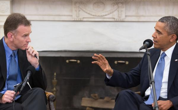 Steve Inskeep interviews President Obama in the Oval Office on Monday for NPR's Morning Edition.