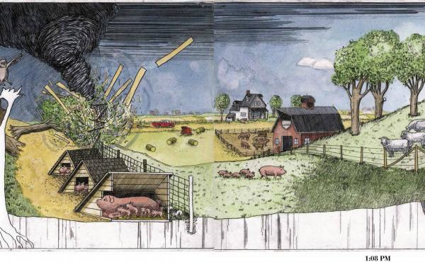 Arthur Geisert's Thunderstorm follows a tempest in the rural Midwest.