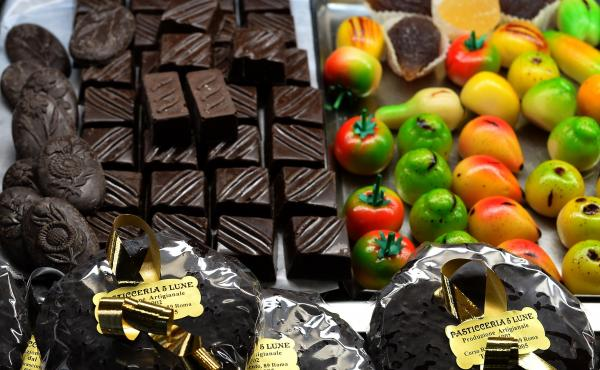 Christmas chocolate and sweets on display at a Christmas market at Piazza Navona on Dec. 20 in Rome.