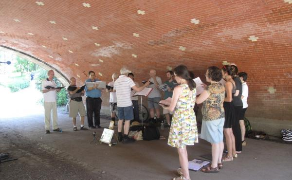 The Renaissance Street Singers give a performance at the Winterdale Arch, near the West 81st Street gate in Central Park.