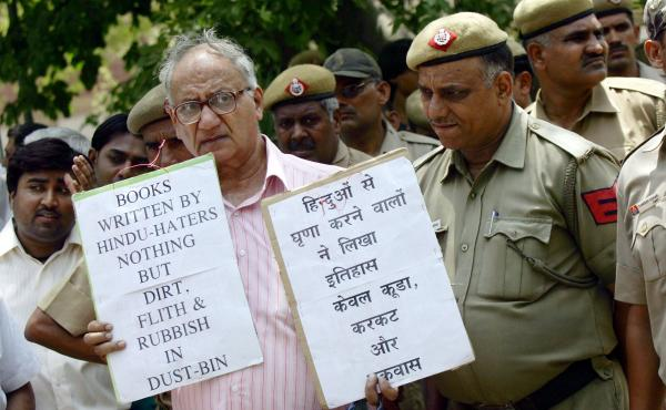 Indian activists from the student wing of Hindu nationalist Bharatiya Janata Party protest near the U.S. Embassy in New Delhi on May 25, 2010, against Wendy Doniger's The Hindus. Penguin Books, India, said this week that it would withdraw the book and pul