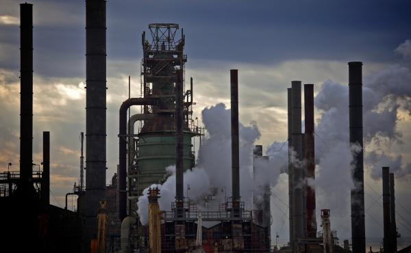 An evening view of the Exxon Mobil oil refinery and petrochemical complex in Baton Rouge, La.