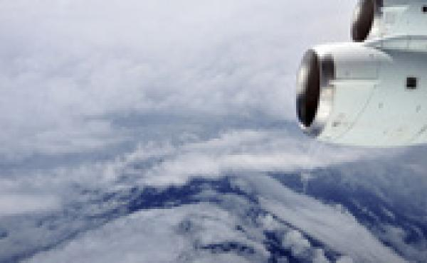 The eye of Hurricane Earl in the Atlantic Ocean, seen from a NASA research aircraft on Aug. 30, 2010. This flight through the eyewall caught Earl just as it was intensifying from a Category 2 to a Category 4 hurricane. Researchers collected air samples on