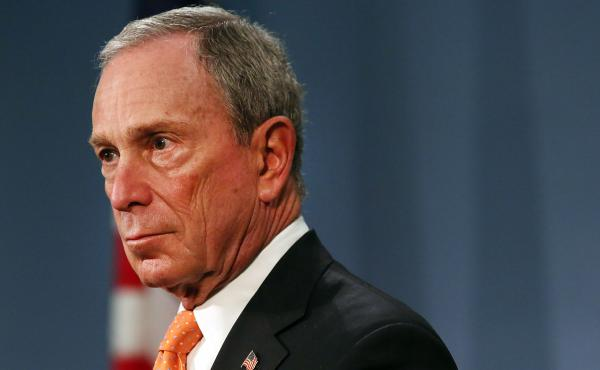 """New York City Mayor Michael Bloomberg speaks at a news conference at City Hall  on April 25. The billionaire mayor has been spending from his personal fortune to provide a """"political counterweight to the NRA,"""" his policy adviser says."""