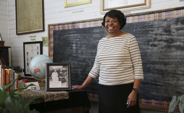 """Marian Coleman attended Noble Hill school in Cassville, Ga., in the 1950s. It's one of more than 5,000 """"Rosenwald schools"""" built for African-Americans in the early 20th century. The school is now a cultural center and Coleman is the curator."""
