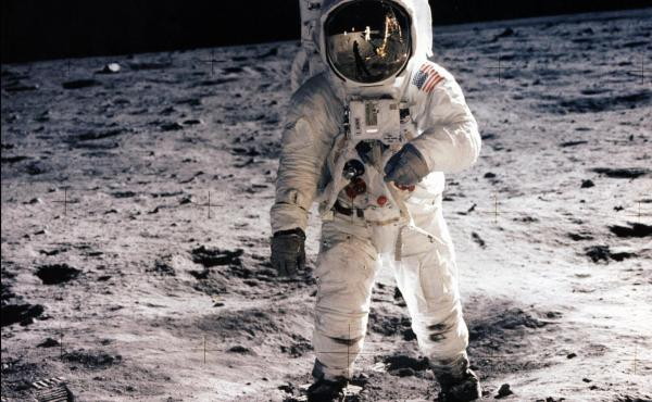 Astronaut Buzz Aldrin walks on the surface of the moon during the Apollo 11 extravehicular activity on July 20, 1969.