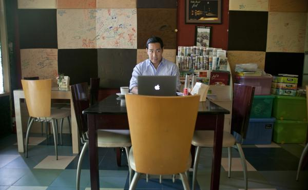 Nay Aung is the founder of Oway, a tech startup in Yangon, Myanmar. He used Taste Cafe as his unofficial office when he started his company — in part because it was one of the few places in Myanmar with a stable Internet connection.
