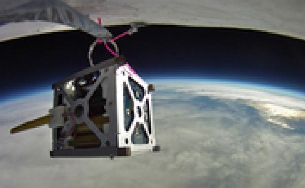 Three PhoneSats, like the one seen here during a high-altitude balloon test, were launched into space on Sunday. The slightly modified cellphone satellites cost a few thousand dollars in parts.