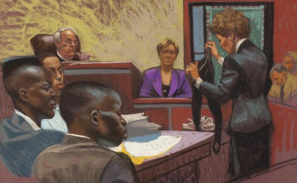 A courtroom sketch from the first trial in the Central Park jogger case shows prosecutor Elizabeth Lederer (standing on right), the victim (on the stand) and defendants Yusef Salaam, Raymond Santana and Antron McCray (on left). The high-profile case is th