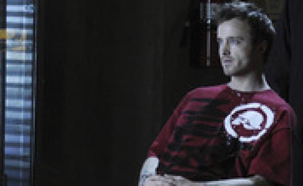 Aaron Paul plays a meth-making drug dealer on the AMC drama Breaking Bad.