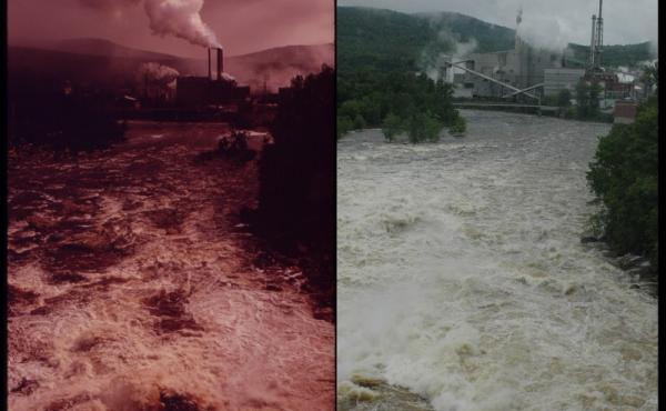 Oxford Paper Company Mill, Androscoggin County, Maine, in 1973 (left) by Charles Steinhacker and 2012 by Victoria Hampshire.