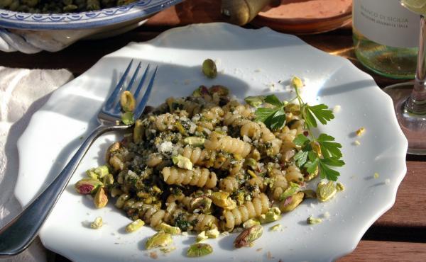 Julia della Croce says pistachio pesto is an economical — and delicious — alternative when Italian pine nuts can cost up to $120 per pound.