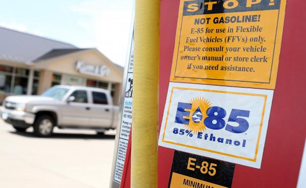 A decal advertising E85 ethanol is displayed on a pump at a gas station in Johnston, Iowa.