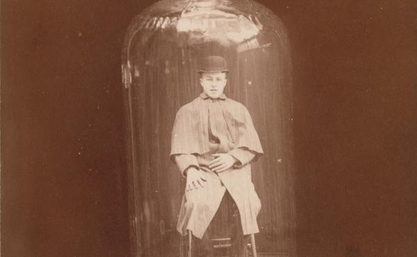 Man in bottle, c. 1888 (J.C. Higgins and Son)