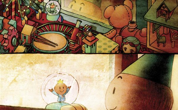 """A small, child-like creature in a cone hat peers into a toy shop, happy at the sight of a snow globe, in a vignette called """"Tininess"""" in Darkness Outside the Night, a graphic novel illustrated by Xie Peng. Find out what happens in the excerpt below."""