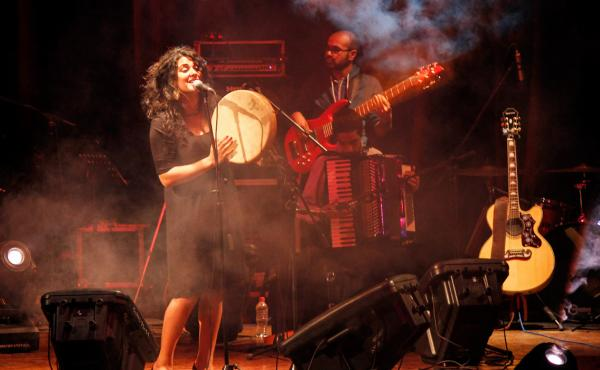 Egyptian folk singer Dina El Wedidi performs at Qasr El Nil Theater during the Downtown Cairo Arts Festival. Wedidi says efforts to revitalize venues like the Qasr El Nil are important because there aren't enough places for musicians of the post-revolutio